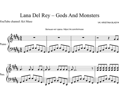 Sheet music and midi files for piano. Gods & Monsters