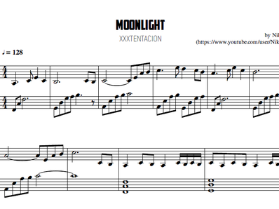 Sheet music and midi files for piano. Moonlight