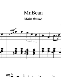Sheet music and midi files for piano. Mr. Bean.