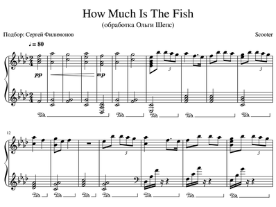 Sheet music and midi files for piano. How Much Is The Fish