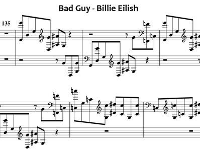 Sheet music and midi files for piano. Bad Guy