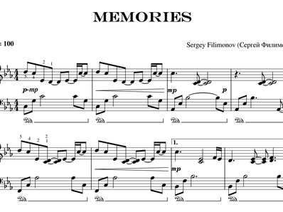Sheet music and midi files for piano. Memories