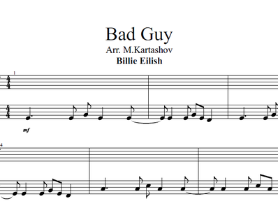 Noten, MIDI für Klavier. Bad Guy
