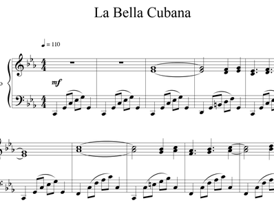 Sheet music and midi files for piano. Cuban Beauty (La Bella Cubana)