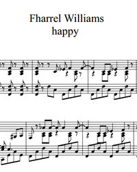 Sheet music and midi files for piano. Happy.