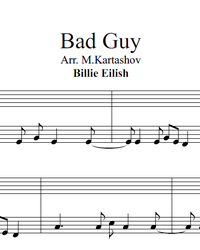Sheet music and midi files for piano. Bad Guy.