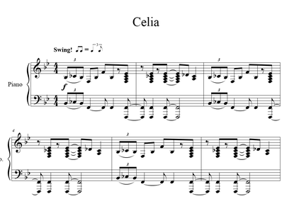 Sheet music and midi files for piano. Celia