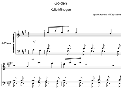 Sheet music and midi files for piano. Golden