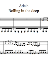 Sheet music and midi files for piano. Rolling in the Deep.