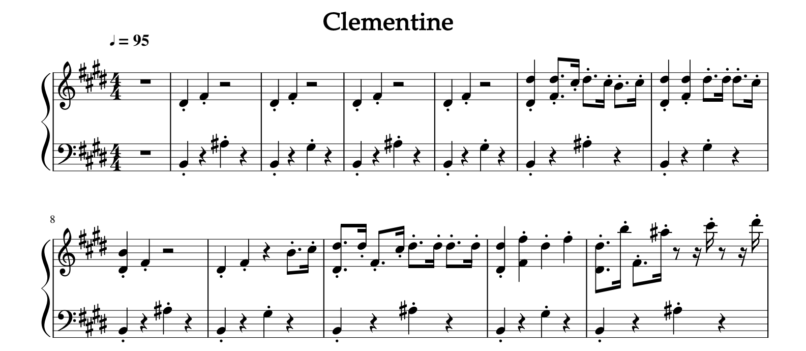 Clementine For Piano Sheet Music And Midi Files For Piano